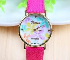 Floral purple leather teen girl watch