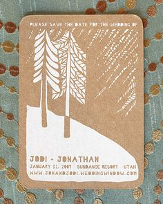 We love these woodsy save-the-date cards
