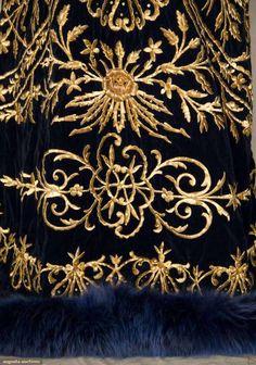 Ottoman embroidered caftan, Sapphire blue velvet w/ heavy gold 3-dimensional floral & vine embroidered front & back, V-neck, blue dyed fox fur collar & hem trim, 19th c