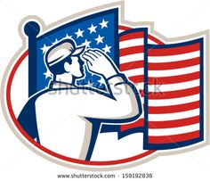 Illustration of an American soldier serviceman saluting USA stars and stripes flag viewed from rear set inside oval done in retro style. - stock vector #soldier #retro #illustration