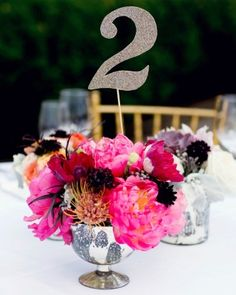 """See the """"Shimmer and Shine"""" in our Table Numbers from Real Weddings gallery"""