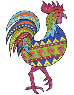 Have fun with this folk art rooster doodle activity - part of a Chinese New Year themed bumper art activity pack for kids