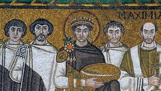 San Vitale, Ravenna. The emperor Justinian flanked by religious leaders and soldiers.