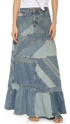 Marc by Marc Jacobs Patchwork Denim Skirt Diy Jeans, Jeans Refashion, Couture Mode, Couture Fashion, Couture Skirts, Estilo Denim, Denim Ideas, Denim Patchwork, Jeans Rock