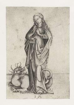 Israhel van Meckenem | Heilige Margaretha, Israhel van Meckenem, 1455 - 1503 | De Heilige Margaretha met een boek in haar hand en een draak aan haar voeten.