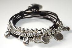 Leather Cord Bracelets, Silver Bracelets, Beaded Bracelets, Bijou Box, Button Bracelet, Colorful Bracelets, Bracelet Sizes, Silver Color, Unique Jewelry