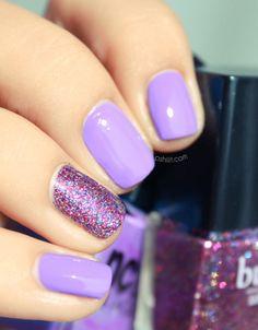 8 Best Glitter Nail Art Designs: Mauve and Glitter Nail Art Design: