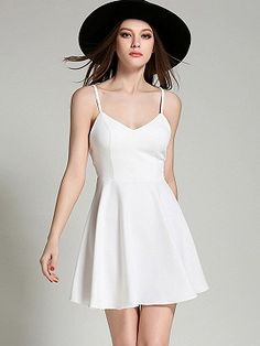 Shop White V-neck Wing Detail Open Back Skater Dress from choies.com .Free shipping Worldwide.$15.9
