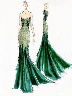 Donna Karan Strapless emerald green gown, 212 872 2863
