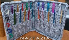 Photo & realisation: Nastazia Why not crochet things to help you crochet? I have adored this crochet hook holder from the moment I saw it. The pattern was written by Ms. Priscilla Hewitt of Priscilla's Crochet, and holds a complete set of hooks: 10 sizes from B to K. Modified by Naztazia, it has an additional row and
