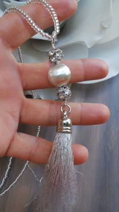 Silver tassel necklace. Silver beaded by AllAboutEveCreations
