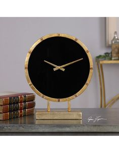 Aldo Gold Table Clock - Sleek and stylish, this clock has a lightly antiqued gold leaf finish with a light gray glaze and black glass clock face. Gold Desk, Gold Table, Farmhouse Clocks, Tabletop Clocks, Tabletop Accessories, Wall Clock Design, Diy Clock, Black Glass, Decoration