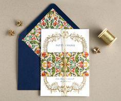 Gold Foil Invites: swiss cottage designs. Decorative Florentine paper by Rossi 1931. www.rossi1931.com