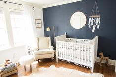 Nursery with black furniture 61 gender neutral baby nursery ideas photos baby boy nursery ideas with dark furniture Baby Boys, Baby Boy Rooms, Baby Boy Nurseries, Blue Accent Walls, Baby Room Themes, Baby Nursery Neutral, Accent Wall Nursery, Dark Nursery, Grey Blue Nursery