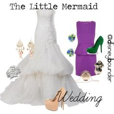 the little mermaid wedding, created by vintageretromodel on Polyvore