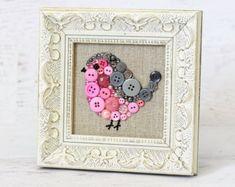 Framed Button Art - Pink and Gray Baby Bird - Small Bird Wall Hanging - Framed Nursery Decor - Pink and Gray Decor - Cute Bird Art