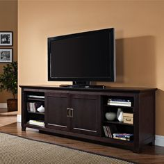See additional information on the Walker Edison Solid Wood 70 inch TV Stand with Sliding Doors (Espresso) W70C25SDES below.