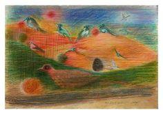 "Saatchi Art Artist Remigiusz Dobrowolski; Painting, ""Which bird has abducted this big strange egg ... maybe pterodactyl ...?"" #art"