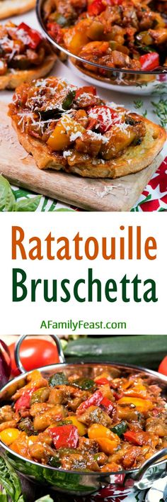 French and Italian cuisine have come together today in one delicious dish! You must try this Ratatouille Bruschetta recipe! Entree Recipes, Side Dish Recipes, Appetizer Recipes, Cooking Recipes, Healthy Recipes, Party Appetizers, Yummy Recipes, Best Side Dishes, Healthy Side Dishes