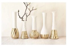 Milk glass & spray paint DIY - now this is a cute idea!  Milk glass can be found in any antique store