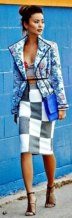 Jamie Chung | floral jacket + checkerboard pencil skirt #patternmixing #streetstyle