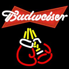 Budweiser Boxing Gloves Neon Beer Sign 16x16