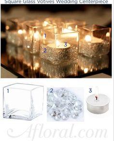5 euro per centrotavola con specchi e candele