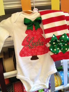 Baby Girl Christmas Outfit -- personalized onesie and leg warmers -- My First Christmas -- red and emerald green Christmas tree on Etsy, $41.95