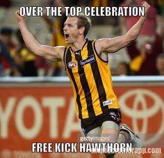OTT celebration. Free kick Hawthorn