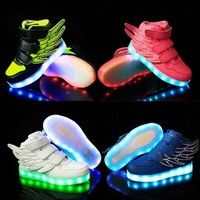 Wish | 2016 New Children Funny Wings Decor Luminous Shoes USB Charging