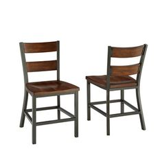 @Overstock - Cabin Creek Dining Chair Pair - Our Cabin Creek collection conveys a reclaimed wood vintage feel. Each piece is physically distressed by hand, providing a unique one of a kind look.  http://www.overstock.com/Home-Garden/Cabin-Creek-Dining-Chair-Pair/8410380/product.html?CID=214117 $168.29