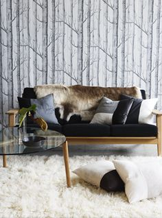 Trees 'Woods' cole and son wallpaper. Love this wallpaper Interior Design Classes, Home Interior Design, Living Room Lounge, Living Spaces, Cole And Son Wallpaper, Eclectic Modern, Wood Wallpaper, Inspirational Wallpapers, Inspiration Wall