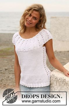 """Summer Detour / DROPS - Free knitting patterns by DROPS Design Knitted DROPS top with round yoke in """"nutmeg"""". Sizes S-XXXL. ~ DROPS design Knitting , lace processing is probably the m. Knitting Designs, Knitting Patterns Free, Knit Patterns, Free Knitting, Crochet Blouse, Knit Crochet, Drops Design, Summer Knitting, Kawaii Clothes"""
