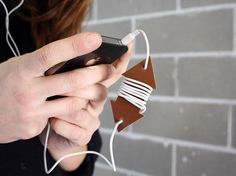 EARPHONE HOLDER  Wire holder in Leather Cable by ENJOYyourway