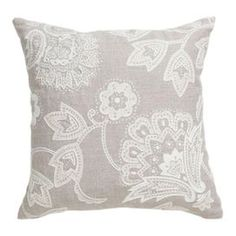 Invite fresh spring flair into your home with this eye-catching pillow, adding a pop of style to your sofa, settee, or master bed.Product: Pillow  Construction Material: 100% Linen cover  Color: Gray and whiteFeatures: Insert included    Dimensions: 18 x 18   Cleaning and Care: Dry clean only          Shipping: This item ships small parcelExpected Arrival Date: Between 04/13/2013 and 04/21/2013Return Policy: This item is final sale and cannot be returned