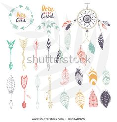 Arrows, feathers, hearts and ornament - handdrawn wedding decor elements in boho style. Vector collection.