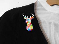 Geometric Deer Brooch Neon 'Stag Head'