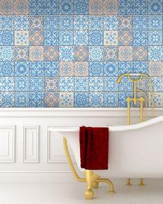Set of 24 tile stickers Back splash Talavera style stickers   Etsy Kitchen Decals, Bathroom Decals, Tile Decals, Kitchen Tile, Wall Tiles, Kitchen Cabinets, Home Decor Items, Diy Home Decor, Decor Crafts