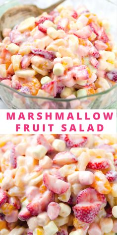 I had this delicious fruit salad a lot growing up. A typical 5 Cup Fruit Salad is very similar, but this fruit salad utilizes fresh strawberries and bananas and omits the coconut. Totally delicious and comforting. Marshmallow Salad, Fruit Salad With Marshmallows, Best Salad Recipes, Fruit Salad Recipes, Jello Salads, Creamy Fruit Salads, Fruit Salad Decoration, Dressing For Fruit Salad, Dessert Salads