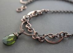Victorian inspired layered scallop design copper necklace with olivine green Cubic Zirconia briolette pendant by IngoDesign on Etsy https://www.etsy.com/listing/153381189/victorian-inspired-layered-scallop