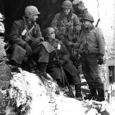 Staff Sgt. Worton Cohen of Baltimore and members of the 26th 'Yankee Division' take a break from the war after the victory at Ardennes. #ww2weapons #ww2history #battleofthebulge #ww2 #warpics #warhistory #worldwar2 #worldwar #worldwarii #worldwartwo #usarmy #wwii #wwiimemorial #bandofbrothers #currahee #tanks #ww2tanks #history #war #veterans #relics #metaldetecting #historian #airborne #1944 #bastogne