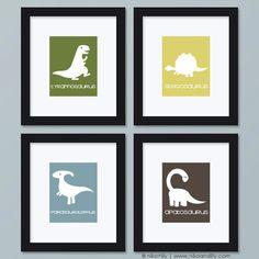 Dinosaurs  Set of Four Dinosaur Prints by NikoAndLily on Etsy, $39.95