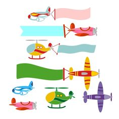 Airplane Banners Pack Cuttable Design Cut File. Vector, Clipart, Digital Scrapbooking Download, Available in JPEG, PDF, EPS, DXF and SVG. Works with Cricut, Design Space, Cuts A Lot, Make the Cut!, Inkscape, CorelDraw, Adobe Illustrator, Silhouette Cameo, Brother ScanNCut and other software.