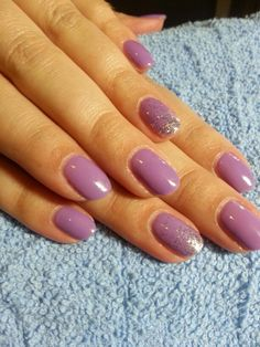 ***Lilac Longing & Silver Glitter - Spring fling nails!   Shellac with loose glitter..
