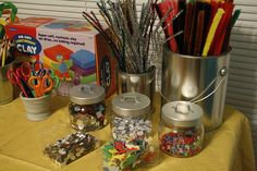 Paint cans make great decorations and they can be found cheap at Michaels. Happy Birthday Parties, 8th Birthday, Family Of 5, Art Party, Paint Cans, Party Stuff, Arts And Crafts, Party Ideas, Clay