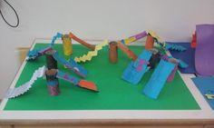 Glijbanen knutselen; thema 'de Speeltuin' Popsicle Stick Crafts, Craft Stick Crafts, Crafts For Kids, 6 Simple Machines, Barbie, Playgrounds, Art Club, Amusement Park, Art Plastique