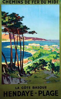 Vintage Railway Travel Poster - Hendaye Plage - La Côte Basque  France - 1935.