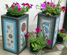 115 Behaviour Support Services Resource Base, North 4 garden planters made with porcelain tiles. If you would be interested in commissioning me… Mosaic Planters, Mosaic Garden Art, Mosaic Flower Pots, Garden Planters, Mosaic Bottles, Bonsai, Potted Plants, Plant Pots, Mosaic Crafts