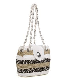 White & Tan Wide Stripe Shoulder Bag by Magid #zulily #zulilyfinds