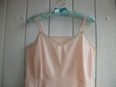 Vintage French Salmon Pink Petticoat Chemise Nightdress Slip Lace  Lge1950s